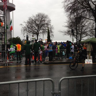 The Shamrock Run in Portland, Oregon is an annual event held around St. Patrick's Day. Depicted here are runners lined up to compete in the run.