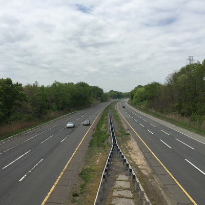 View south along the New Jersey Turnpike Pennsylvania Extension (Interstate 95) from the Interstate 295 (Camden Freeway) overpass in Mansfield Township, Burlington County, New Jersey