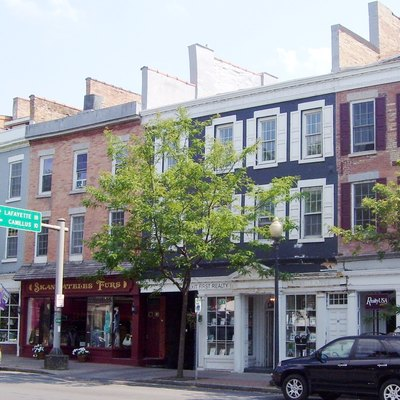 The buildings on the south side of East Genesee Street in Skaneateles, New York from #28 through #42 (right to left). The original buildings of this downtown business district were destroyed by fire in 1835. The buildings are all located within the Skaneatles Historic District.