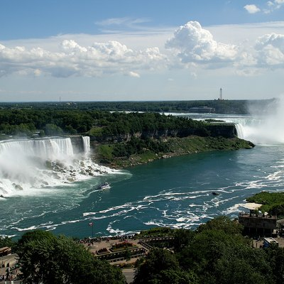 A view of the American, Bridal Veil and Horseshoe Falls from the Presidential Suite of the Sheraton Fallsview Hotel, Niagara Falls, Ontario, Canada.
