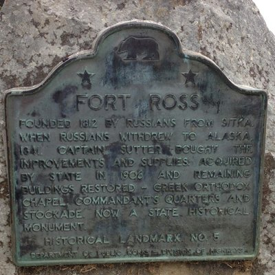 CHL #5 Fort Ross California State Landmark Plaque