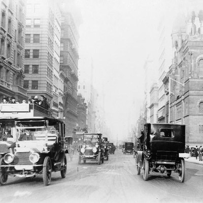 New York City street scenes - 5th Avenue. Photograph with period automobiles, 1918