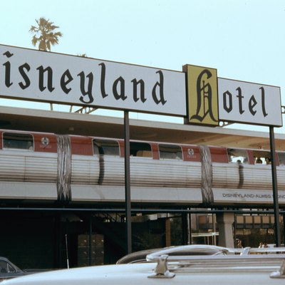 The original red Mark I ALWEG Monorail train, with one car added, and then designated Mark II. Both trains were created especially for Disneyland. The other train was identical, but blue in color, August 1963.