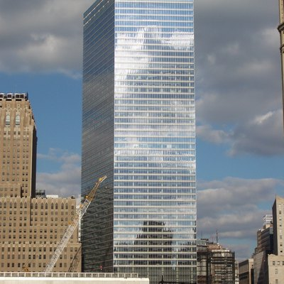 The new 7 World Trade Center tower seen from the southwest.