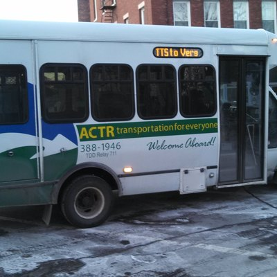 Addison County Transit Resources bus at Merchant's Row in Middlebury, Vermont.