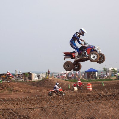 ATV (All Terrain Vehicle) racing at Gravity Park near Chilton, Wisconsin, United States.
