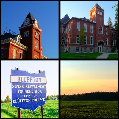 This collage includes Town Hall, College Hall at Bluffton University, a picture of one of the signs marking Bluffton city limits, and a picture of a field on the edge of town.
