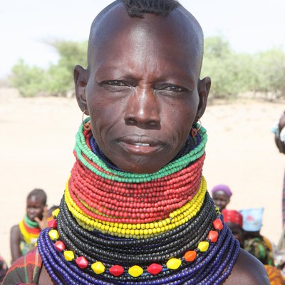 Turkana, in northwest Kenya, has many diverse cultures. The ornaments this woman is wearing are said to represent the asset worth of her family. She is therefore considered wealthy in the community.