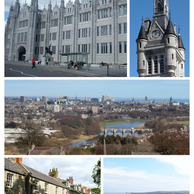Clockwise from top-left: Marsichal College, West Tower of the new Town House on Union Street, cityscape view from Tollohill Woods, Old Aberdeen High Street, Aberdeen Beach