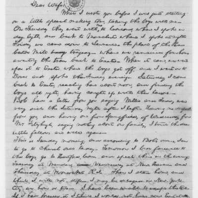 Letter from President Abraham Lincoln to his wife Mary Todd Lincoln, written while LIncoln was visiting his son Robert, who was then a student at Phillips Exeter Academy, Exeter, New Hampshire. The Abraham Lincoln Papers, General Correspondence, Library of Congress, Washington, D. C. [1]