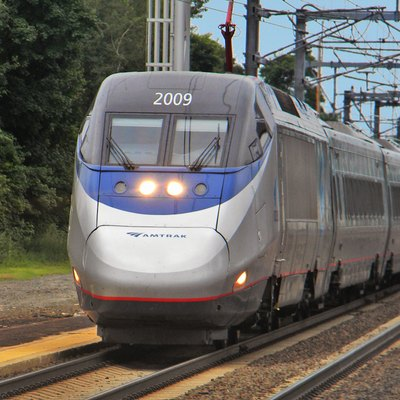 A northbound Amtrak Acela Express passing through Old Saybrook, Connecticut in 2011
