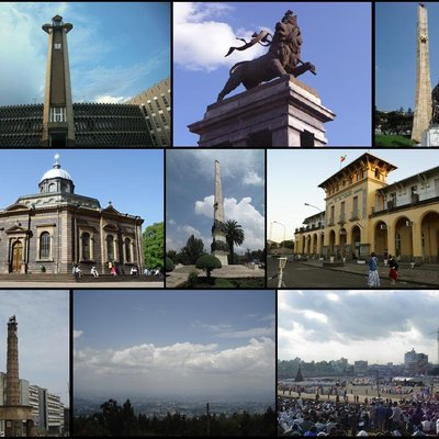 Addis Abeba, Ethiopia. From top to bottom, left to right: Addis Abeba city hall, Lion of Judah Monument, Tiglachin monument, St Georges cathedral, Yekatit 12 adebabay, Addis train station, Miyazya 27 adebabay,Addis from Entoto and Meskel adebabay