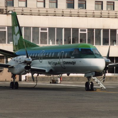 Aer Lingus (EI-CFD) Saab 340 aircraft, Dublin Airport, Dublin, Republic of Ireland, February 1993