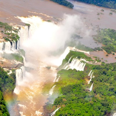 Aerial view of the Iguazu Falls from a helicopter