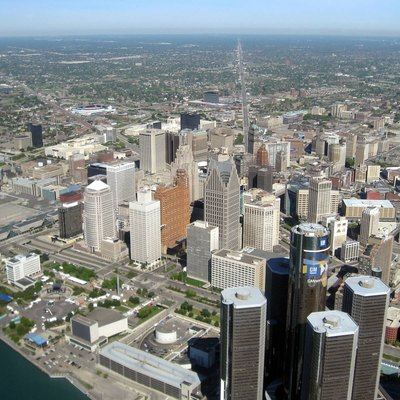 Aerial View of Downtown Detroit, Michigan, USA. Looking up Grand River Ave.