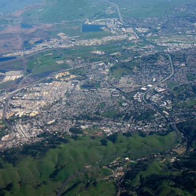 The city of Martinez, California, facing east, with Carquinez Strait on the left side and Highway 4 running up the right side.