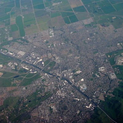 Aerial view of the city of Vacaville, California.