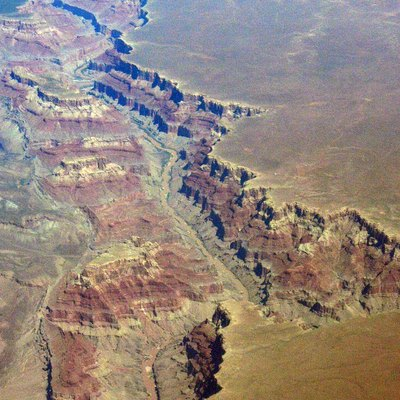 Aerial view of the Grand Canyon, looking north, at the point where the Little Colorado River enters the Colorado. (The Little Colorado enters from the east, and the Colorado flows south.)