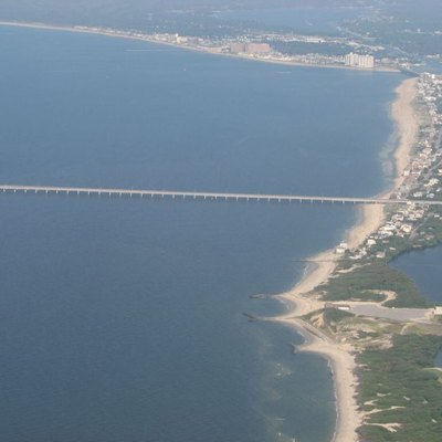 Aerial view of the southern entrance to the w:Chesapeake Bay Bridge-Tunnel. The water is the w:Chesapeake Bay and w:Virginia Beach is to the right.