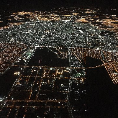 Aguascalientes City seen from a flight at night.