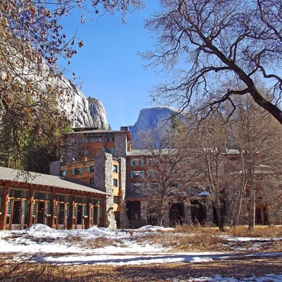 A view of Half Dome and the Ahwahnee Hotel in Yosemite National Park, California.