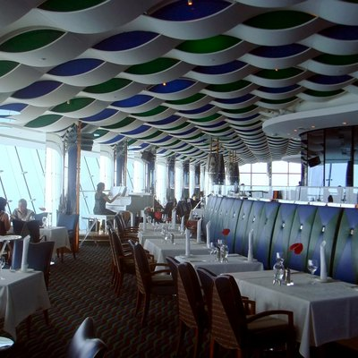 Al Muntaha Restaurant Extending Out Of The Burj Al Arab, 200 m (656 Ft) Above The Persian Gulf.