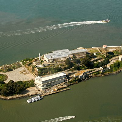 Alcatraz Island view from the West. Image shot from an altitude of approximately 1800ft.
