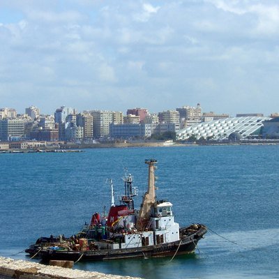 A view of Alexandria harbour in Egypt during February 2007. The new Alexandria library can be seen in the background.