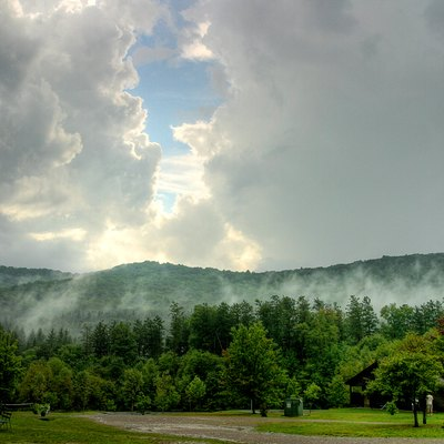 Mist on Mt. Tuscarora in Allegany State Park as seen from Camp Turner in September 2007.