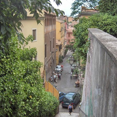 A narrow alley in Trastevere, Rome taken from the lower slopes of Gianniccolo hill.