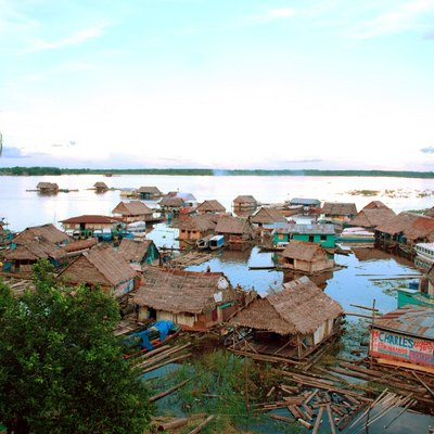 Amazon River floating village neighborhood in Iquitos, Peru.