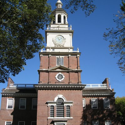 The clocktower at Independence Hall. Philadelphia, PA.