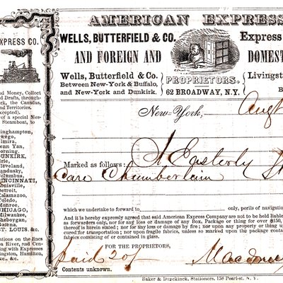 American Express Co. shipping receipt. New York, NY August 6, 1853.