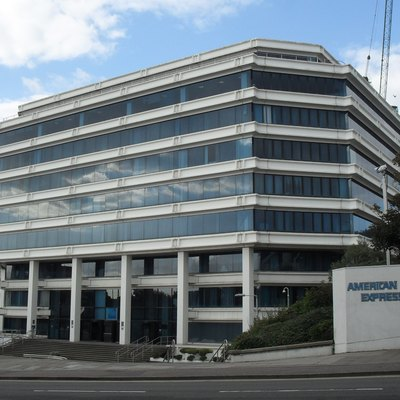 Amex House, Edward Street, Carlton Hill, City of Brighton and Hove, East Sussex, England. The European headquarters of American Express, built in 1977. The building is set to be demolished and replaced with a new office on the same site.