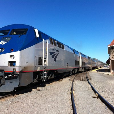 Amtrak engine #1 in front of engine #56, both GE Genesis P42DC diesels, pulling the eastbound California Zephyr at Grand Junction, Colorado, April 2012.