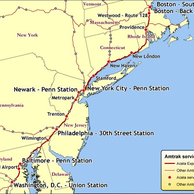 Amtrak - Acela Express route map Created by Kmf164