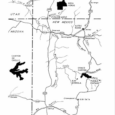 An NPS map of Ancestral Puebloan sites in the Four Corners area.