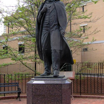 Statue of President Andrew Johnson in Greeneville, Tennessee, in the southeastern United States. This statue is part of the Andrew Johnson National Historic Site, which includes Johnson's tailor shop and Greeneville residence.