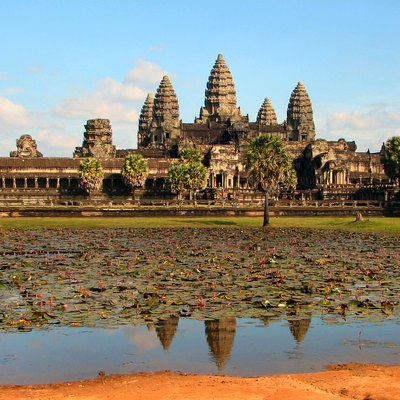 Angkor Wat, the front side of the main complex, photographed in the late afternoon