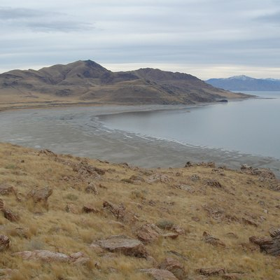 Beach at White Rock Bay viewed from Buffalo Point, Antelope Island. Note wave-cut platforms associated with old shorelines preserved from a much larger and deeper pluvial Lake Bonneville.