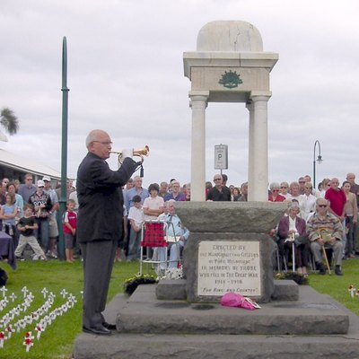The Last Post is played at an ANZAC Day ceremony in Port Melbourne, Victoria.