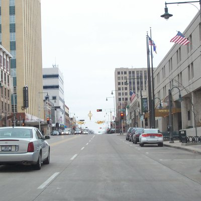 Looking east at downtown Appleton, Wisconsin, USA. Cropped from the original.