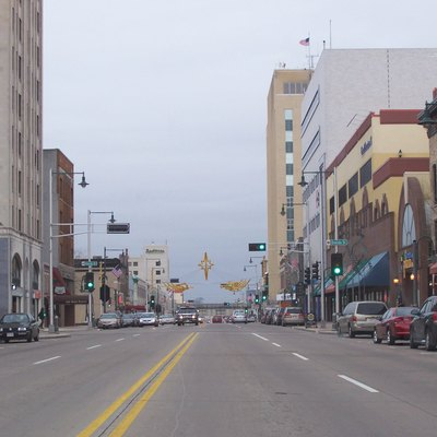 Looking west at downtown Appleton, Wisconsin, USA. Cropped from the original.