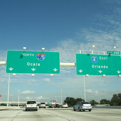 Interstate 275, approaching the Interstate 4 exit in downtown Tampa, Florida.