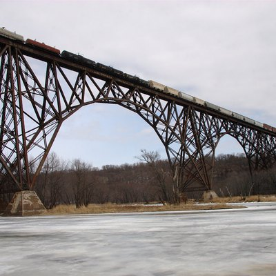 Train crossing the Arcola High Bridge on the St. Croix River, Minnesota, USA
