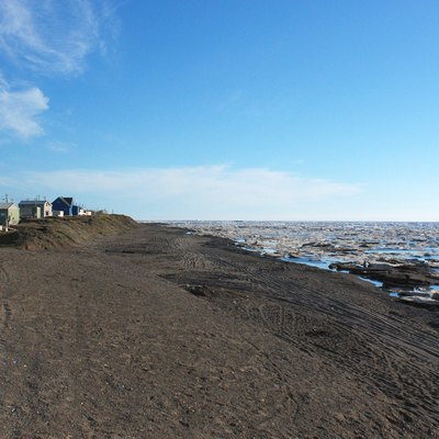 Homes along the Arctic Ocean in Barrow, Alaska