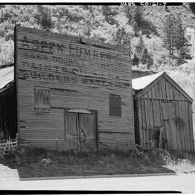 Aspen Lumber Company Building, built circa 1882. 100 West Cooper Street, Aspen, Pitkin County, Colorado. Historic American Buildings Survey photo.
