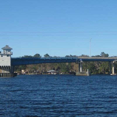 The Astor Bridge, built 1978, is viewed from the south as it carries Florida State Road 40 over the St. Johns River between the communities of Volusia in Volusia County and Astor in Lake County.