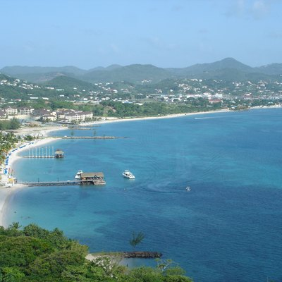Picture taken from the top of Pigeon Island, looking East, towards Reduit Beach. To the left is the Landings Sandals Grande.