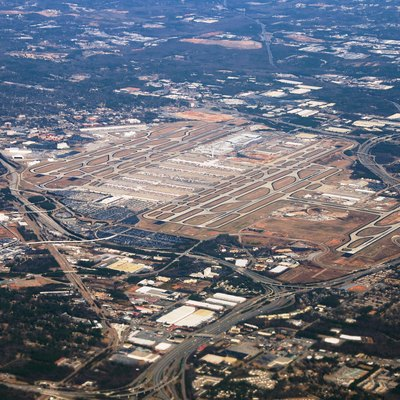 Aerial photo of Hartsfield-Jackson Atlanta International Airport on March 5, 2010 on approach and showing F concourse under construction